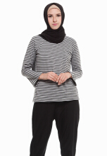 Mybamus Stripe Tamie Top Fit Gray M11992A R8S4 All Size