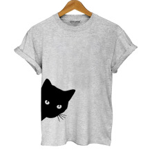 Jantens cotton casual funny cat print women T shirt girl casual short sleeve summer women