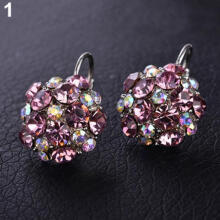 Farfi Women's Colorful Cubic Zirconia Ball Eardrop Leverback Earrings Party Jewelry