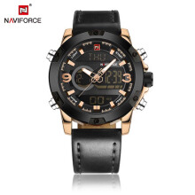 NAVIFORCE Male Dual Movt Watch LED Backlight Luminous Wristwatch For Men Relogio Masculino