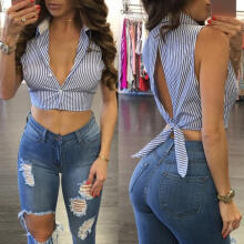Farfi Fashion Stripe Backless Bandage Women Turn Down Collar Sleeveless Shirt Crop Top