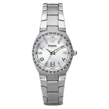 Fossil AM4141 Glitz Ladies White Mother of Pearl Dial Stainless Steel Strap [AM4141]