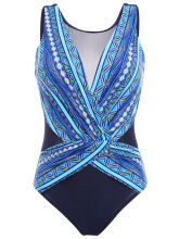 Plus Size Printed Mesh Patchwork Backless Gather One Piece Swimsuits For Women Blue US 6