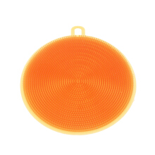 KCASA KC-CS05 Multi-purpose Silicone Dish Washing Cleaning Brush Scrubber Heat Resistant Pad Coaster Orange