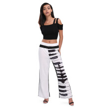 Fashionmall Trendy Elastic Waist Piano Print Wide-leg Women Long Pants