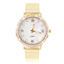 [LESHP]Women's Crystal Round Quartz Stainless Steel Mesh Band Wrist Watch Gift