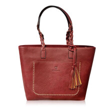[LESHP]Fashion Women Tassel Decoration Large Capacity Shoulder Bags PU Leather Zipper Red