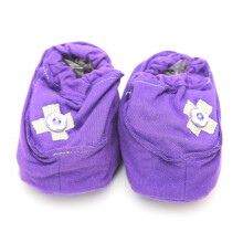 Cribcot Booties with Ribbon - Dark Purple & Light Grey  0-3M