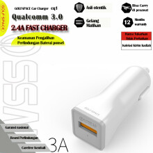 GOLF SPACE Quick Charge 3.0 Car Charger for Handphone HP Dual USB Port White