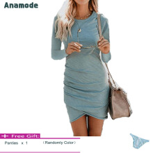 Anamode Women Stretch Dresses Slim Bodycon V-Neck Mini Dress Irregular Hem -Light Blue -