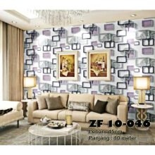 ZF - Wallpaper Stiker ZF 10-46 - Motif Minimalis ungu - uk 45cm x 10m Purple - Yellow