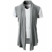 New personality solid color wild European and American men's casual sleeveless casual knit cardigan-light-gray-M