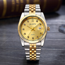 HOTT 2019 WLISTH Luxury Gold Watch Lady Men Lover Stainless Steel Quartz Waterproof Male Wristwatches for men Analog Auto date c