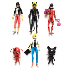 [COZIME] 6pcs/set Miraculous Ladybug Comic Ladybug Action Figure Toy with LED Light Multicolor