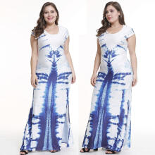 Maodapa Women's Casual O-neck Short-Sleeved Printed Stitching Split Skirt Long Dress