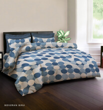 KING RABBIT Bedcover Double Motif Boss Man -biru/ 230 x 230cm Blue