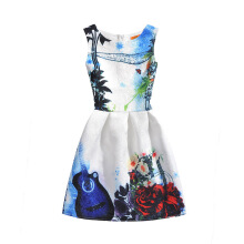 SESIBI Size 130~160 Girls Dresses Children Summer Dress Princess Costume Teens Fashion Printing Wear - Guitar and Flowers -