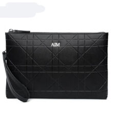 AIM S005 Simple large-capacity clutch bag leather envelope bag male hand bag holder bag-Black