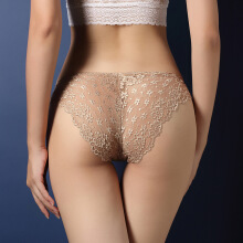 SESIBI Lace Hollow Low-Rise Panties For Women Brief Sexy Ultra-thin Underwear Girl Seamless Breathable Thongs -One Size -