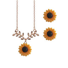 Farfi Cute Sunflower Leaves Pendant Ear Studs Earrings Necklace Women Jewelry Set Gift
