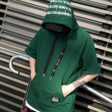Loose Style Men Oversized Hoodie T-shirt Short Sleeve Streetwear Hip Hop Tops green M