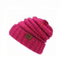 Winter Women Vintage Ponytail Outdoor Sport Baseball Cap Warm Knitted Hat Rose red  &  white