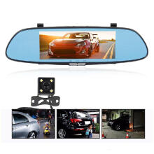 MCLIFE Car DVR Full HD 1080P 7.0 Inch IPS Touch Screen Dual Lens Rear View Camera Recorder  Black