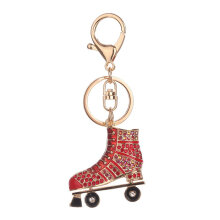 Roller Skates Shape Alloy Keychain Woman Bag Pendant Key Chain Decoration red