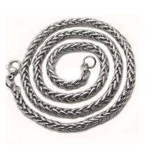 Jantens  Mens Silver Stainless Steel Wheat Braided Chain Necklace Jewellery Silver