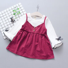 Spring Autumn Baby Girls Round Collar Long Sleeve Princess Dress Clothes XL