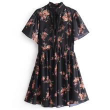 Yenkye summer lady floral print chiffon dress