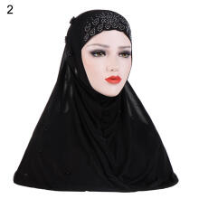Farfi Rhinestones Bead Decor Women's Muslim Turban Hijab Head Wrap Headscarf