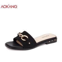 AOKANG 2018 Summer women shoes flat heels outdoor slippers women casual comfortable shoes woman black