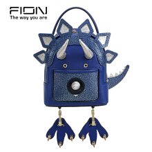 FION Jacquard with Leather Backpack - Purple Others