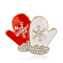 [COZIME] Enameled Christmas Gloves Brooch Pins Decor Jewelry Gift for Kids Girls Red & White