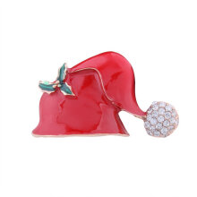 [COZIME] Rhinestone Drop Oil Red Hat Corsage Brooch Cute Christmas Series Brooches Multi-Colour