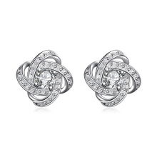 SESIBI Geometry Design Stud Earrings Romantic Crystal Silver Plated Jewelry Accessories Global Simple Zircon - Silver