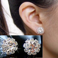 Farfi Women's Fashion Shining Rhinestone Flower Charm Jewelry Ear Studs Earrings