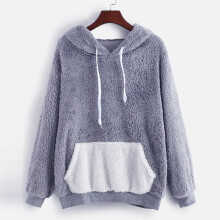 BESSKY Fashion Women Fluffy Tops Hooded Pullover Pocket Loose Sweater Blouse_