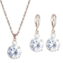 Farfi Fashion Jewelry Set Round Rhinestone Pendant Necklace Bridal Leaverback Earrings
