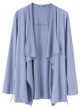 Zanzea Women Casual Irregular Pure Color Long Sleeve Kimonos Light Blue  M