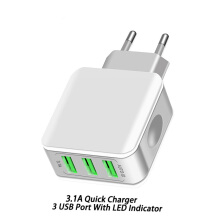 DELIVE EU Plug 3 Ports Quick Charger USB Fast Charger For Samsung xiaomi OPPO vivo iPhone White