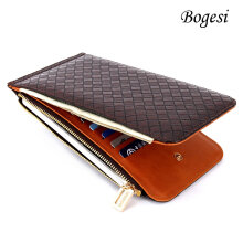 [LESHP]822 Portable Purse Long Lady Wallet Card Money Holder Women Zipper And Hasp Brown