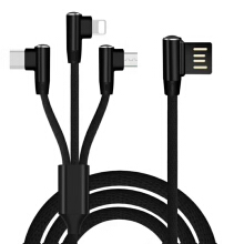 90 Degree USB Cable For iPhone X 8 7 6 Plus Charging Cable 3 in 1 2 in 1 Data Cable For Type-C Micro Android Phone Charger Cable
