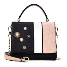 Fashionmall Patchwork Small Handbag Women PU Leather Chain Flap Shoulder Crossbody Bag