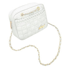 [LESHP]Women Girls Mini Satin Lattice Shoulder Messenger Dual Chain Crossbody Bag white