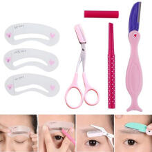 Farfi 1Set Eyebrow Pencil Razor Scissors Stencil Templates Makeup Eyebrow Shaping Tool as the pictures