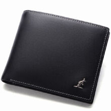 L'ALPINA 661052029 Men's leather Cowhide two fold horizontal section leather card holder wallet multi-function wallet-Black