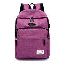 COZIME Fashion Travel Backpack With USB Port Large Capacity Students Schoolbag Purple