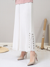 Vintage Side Embroidery Pants with Pockets White One Size
